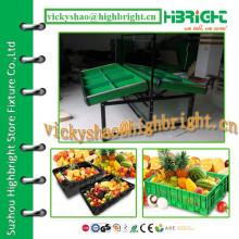 double sided metal supermarket vegetable rack with adjustable shelf