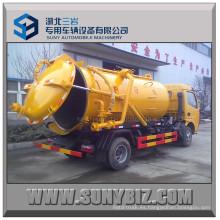 Mini Rhd LHD 6000L 95HP Tanque de vacío de succión de aguas residuales camión cisterna
