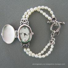 Reloj de perlas de agua dulce, reloj de pulsera de perlas (WH111)