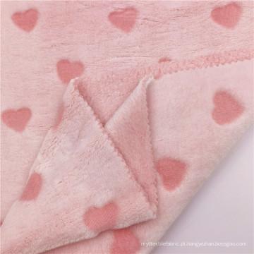 Tecido de flanela em malha de poliéster elegante flor rosa cortada