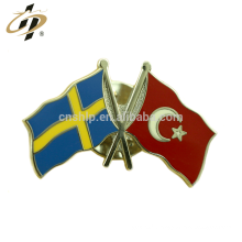 Épinglettes en revers en métal émail avec drapeau en métal patriotisme argent personnalisé