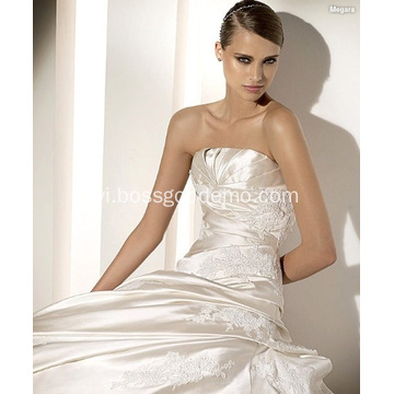 A-line Stra Stra Cathedral Train Satin Lace Beading Appliques Dress Wedding
