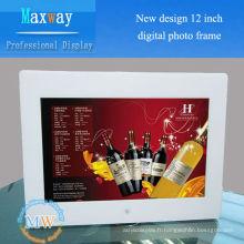 Nouveau cadre photo numérique de 12 pouces avec connexion par carte SD