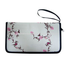 Passport holder, 600D polyester fabric, PP webbing loop for handle, flower print