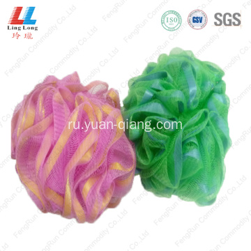 Ribbon mesh round body exfoliating sponge