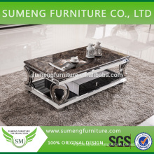 Made in French stainless steel frame marble top coffee table for sale
