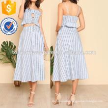 Keyhole Tie Front Ruffle Top & Skirt Set Manufacture Wholesale Fashion Women Apparel (TA4061SS)