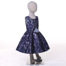 Blaues Spitze-Blumen-Mädchen-Kleid