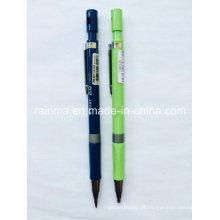 Lápis de propulsão de plástico com 2 cores de amarelo e preto do barril