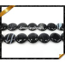 Perles de pierre Onyx, Perles de pierres précieuses en agate noir (AG014)