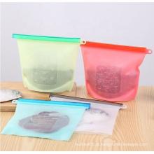 Saco com zíper de armazenamento de silicone reutilizável para frutas e vegetais