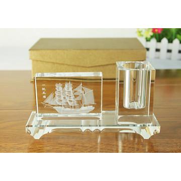 Crystal Business Set para regalos corporativos Crystal Pen Holder