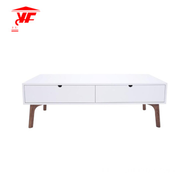 White Center Table Living Solid Wood