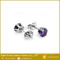 7mm 316L acero inoxidable pendientes Shamballa púrpuras pendientes de oído de circón cúbico