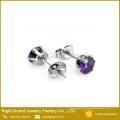 Brincos roxos de aço inoxidável da orelha do zircão dos brincos de Shamballa de 7mm 316L