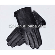 man fashion fleece lined leather gloves with sewing machine