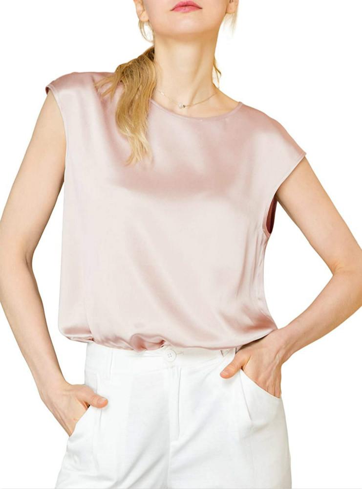 Light Beige Silk Tops