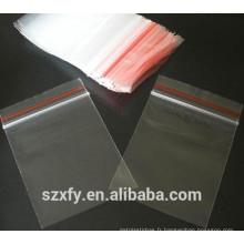 Sac à glissière en plastique transparent PE