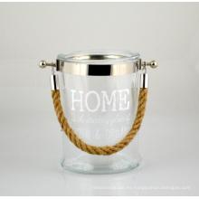 2015 Nueva linterna de cristal con mango de cuerda de yute