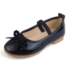 Fashion style children girls pu leather bowknot dress princess shoes