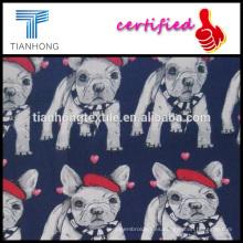 2016 primavera a temporada de dibujos animados lindo perrito impresión tela de algodón para ropa