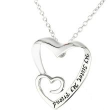 Jóias de pingente de coração duplo Jóias de prata elegante para jóias de melhor amigo