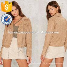 Taupe Moto Design Jacke OEM / ODM Herstellung Großhandel Mode Frauen Bekleidung (TA7008J)