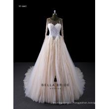 2017 Modern Custom Made illusion sleeves Wedding Dress Bridal