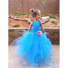 Bleu Ruffles Organza Jupe Lace Up Back Robe fille fille personnalisée FGZ27 Robes Cendrillon pour filles