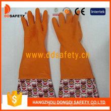 Orange Household Latex Flower Design PVC Cuff Working Gloves (DHL712)
