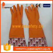 Orange Household Latex Flower Design PVC Cuff Working Gloves DHL712