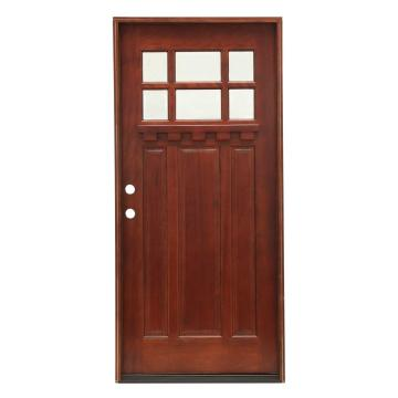 6 Lite Stained Mahogany Wood Prehung Front Door