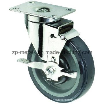Ruedas Biaxial tamaño mediano de la PU de la rueda con freno