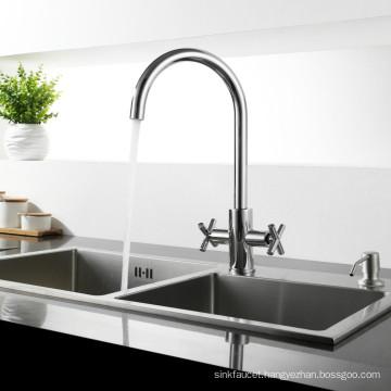 Brass Two Lever Swivel Kitchen Sink Water Mixer