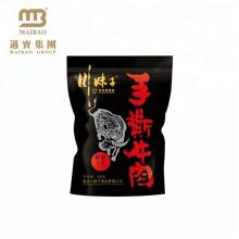Die Nahrungsmittelgrad-Verpackengewohnheits-Größe und der Druckspitzen-Zip-Rundboden stehen oben Plastikbeutel-Taschen für Trockenfleisch vom Rind