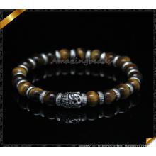 Bracelet en perles d'oeil tigre, bracelets en argent sterling en argent sterling (CB095)