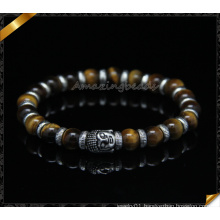 Tiger Eye Beads Bracelets, Spacer Silver Charms Bracelets (CB095)