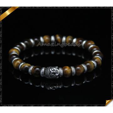 Pulseras de perlas de ojos de tigre, pulseras de encantos de plata Spacer (CB095)