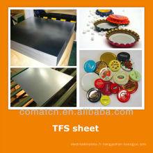 EN10202 standard Tin gratuit tôle d'acier pour bouchon de bouteille
