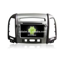 7 pouces android 4.4.2 voiture dvd pour 2010-2012 Santa Fe + soutien Mirrior lien + DVR + obd2 + haut niveau avec trois trous