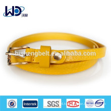 Yellow PU Skinny logo Belt for Woman