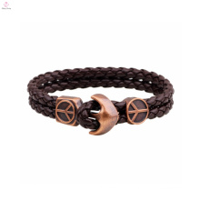 Large charms wholesale men bracelet 2016 leather labradorite pendant Anchor Bracelets for men