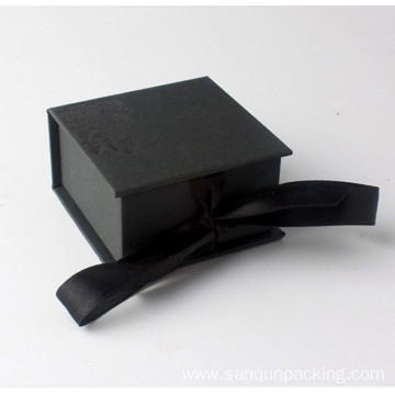 Black matte paper box with ribbon