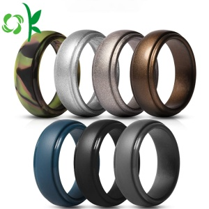 Cool Golden / Silver Powder Silicone Ring Custom Sports Ring