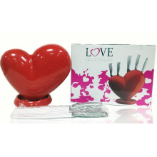 Promotional Gift Heart Shaped Knife Block with 5 PCS Kitchen Knives (TV228)