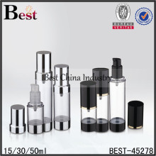 30ml 50ml acrylic airless foam bottles, factory direct airless bottles and jars free samples china supplier