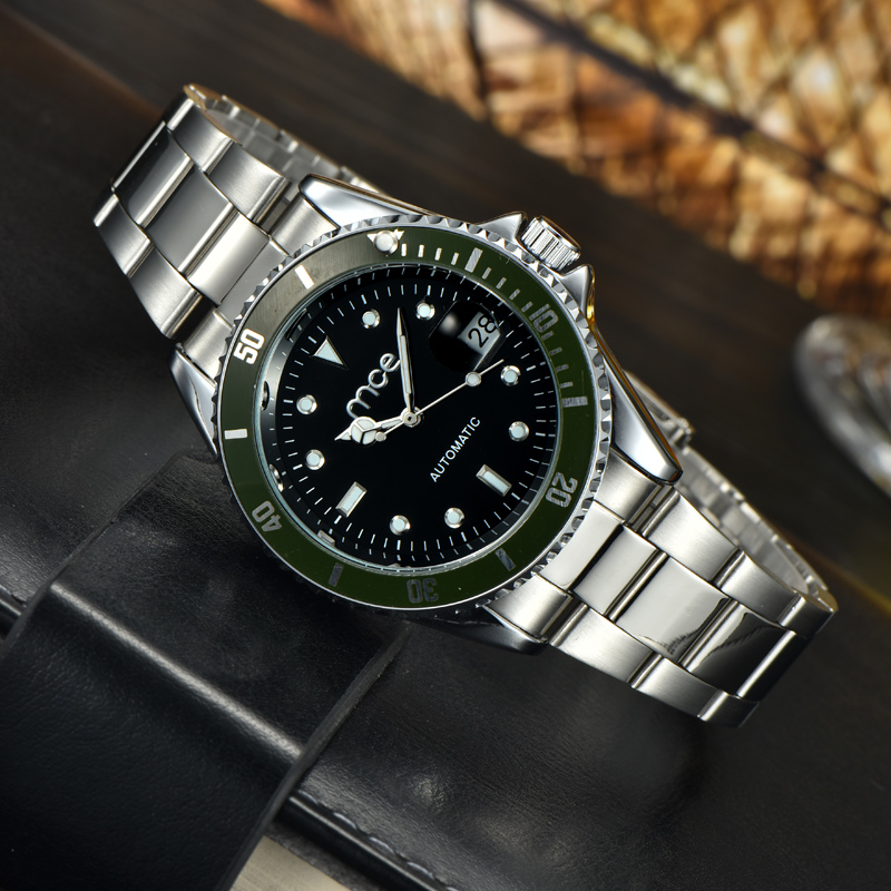 Fashion clock mens steel business watches