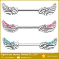 Customized Surgical Steel Multi CZ Jewelled Angel Wings Nipple Piercing Ring Barbell