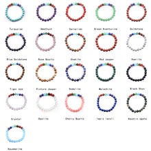 2016 Urban Fashion 7Chakra Stone 8mm Kinds Material Loose Beads Streth Bracelet