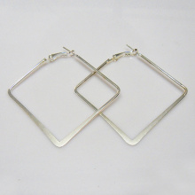 Factory Direct sale metal hoop earrings in square shape, 50x50mm in outer diameter, rhodium plating,women party gift fashion